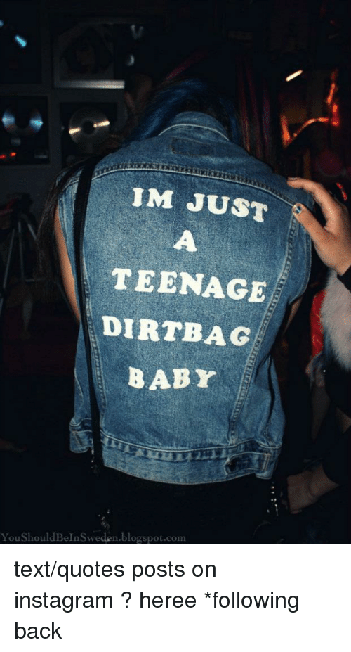 dirtbag: IM JUST  TEENAGE  DIRTBAG  BABY  YouShouldBeInSweden.blogspot.com text/quotes postson instagram?heree*following back