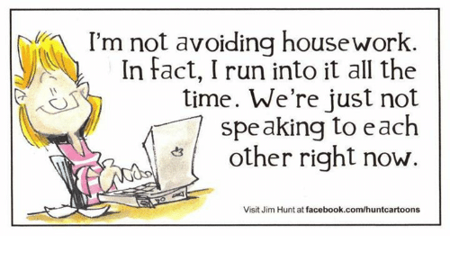 Housework: I'm not avoiding housework  In fact, I run into it all the  time. We're just not  speaking to each  other right now.  Visit Jim Hunt at facebook.com/huntcartoons
