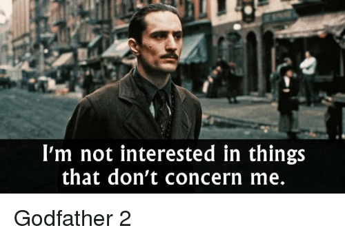 godfather 2: I'm not interested in things  that don't concern me. Godfather 2