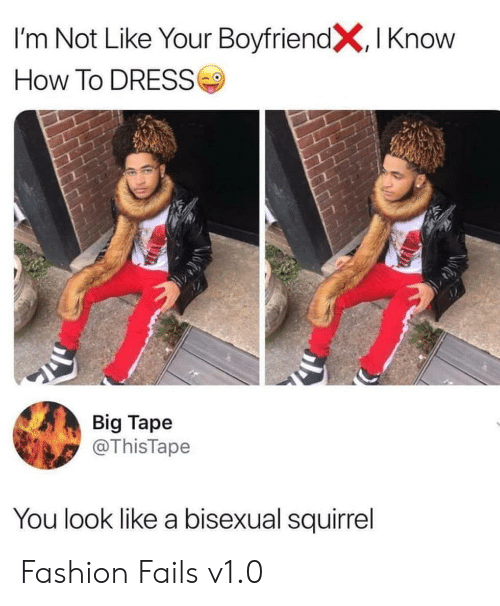 Squirrel: I'm Not Like Your BoyfriendX, I Know  How To DRESS  Big Tape  @ThisTape  You look like a bisexual squirrel Fashion Fails v1.0