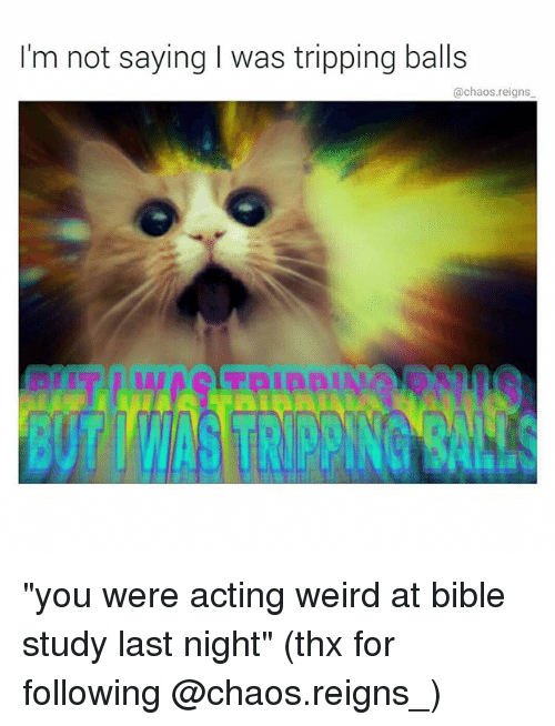 "Memes, Weird, and Bible: I'm not saying I was tripping balls  @chaos.reigns ""you were acting weird at bible study last night"" (thx for following @chaos.reigns_)"