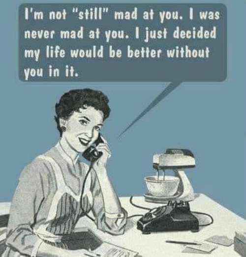 """Still Mad At You: I'm not """"still"""" mad at you. I was  never mad at you. I just decided  my life would be better without  you in it."""