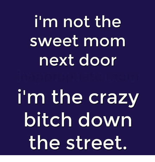 Bitch, Crazy, and Dank: i'm not the  sweet mom  next door  i'm the crazy  bitch down  the street.