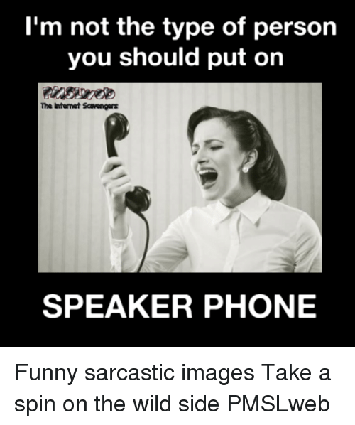 Funny Sarcastic: I'm not the type of person  you should put on  The Intenet Scavenger  SPEAKER PHONE <p>Funny sarcastic images  Take a spin on the wild side  PMSLweb </p>
