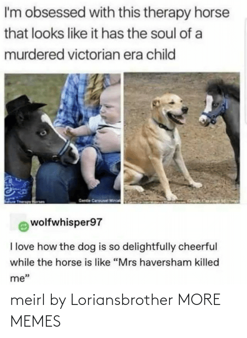 "era: I'm obsessed with this therapy horse  that looks like it has the soul of a  murdered victorian era child  Gende Carousal Minia  wolfwhisper97  I love how the dog is so delightfully cheerful  while the horse is like ""Mrs haversham killed  me"" meirl by Loriansbrother MORE MEMES"