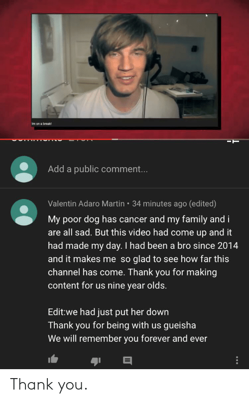 forever and ever: Im on a break  Add a public comment...  Valentin Adaro Martin 34 minutes ago (edited)  My poor dog has cancer and my family and i  are all sad. But this video had come up and it  had made my day. I had been a bro since 2014  and it makes me so glad to see how far this  channel has come. Thank you for making  content for us nine year olds.  Edit:we had just put her down  Thank you for being with us  We will remember you forever and ever  gueisha Thank you.