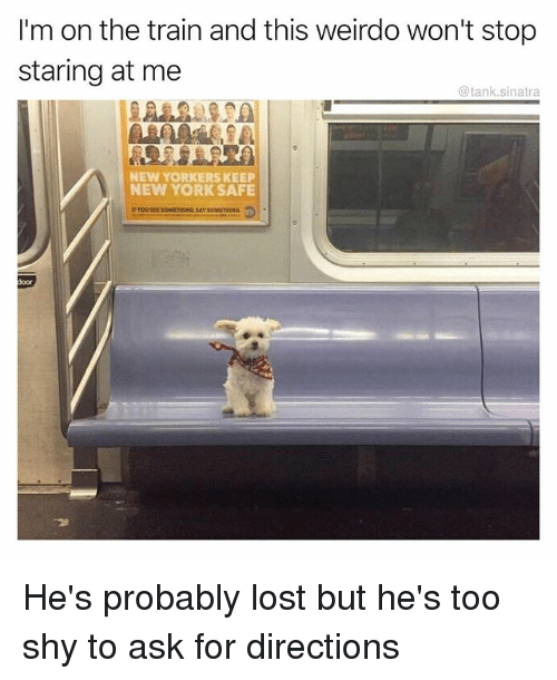 tanked: I'm on the train and this weirdo won't stop  staring at me  @tank.sinatra  NEW YORKERS KEEP  NEW YORK SAFE  oor He's probably lost but he's too shy to ask for directions