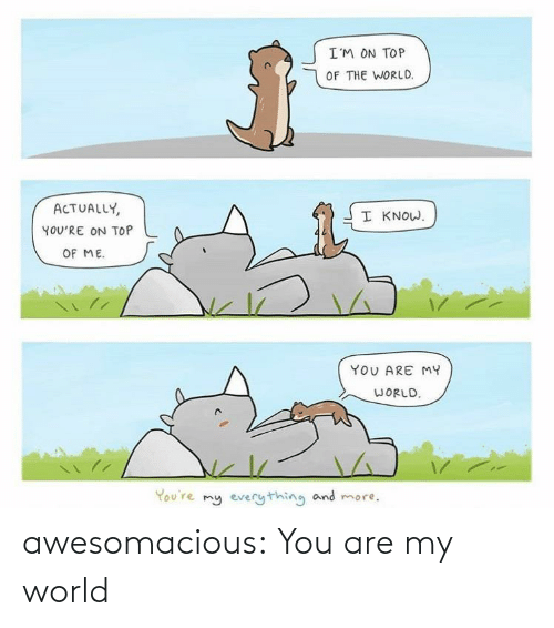 On Top: I'M ON TOP  OF THE WORLD.  ACTUALLY,  I KNOW.  YOU'RE ON TOP  OF ME.  YOU ARE MY  WORLD.  You're my everything and more. awesomacious:  You are my world