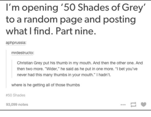 I 39 m opening 39 50 shades of grey to a random page and for 50 shades of grey part 2