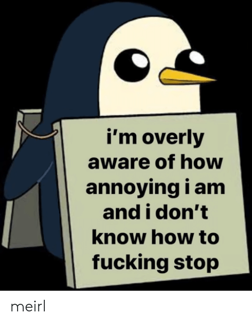 overly: i'm overly  aware of how  annoying i am  and i don't  know how to  fucking stop meirl