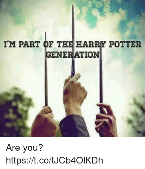 Harry Potter, Memes, and 🤖: IM PART OF THE HARRY POTTER  GENERATION Are you? https://t.co/tJCb4OlKDh
