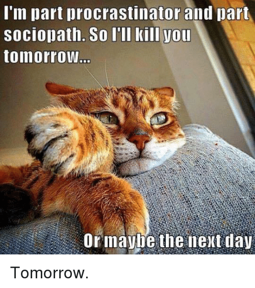 Memes, Sociopath, and Tomorrow: I'm part procrastinator and part  sociopath. So I'll kill you  tomorrow  Or maybe the next day Tomorrow.