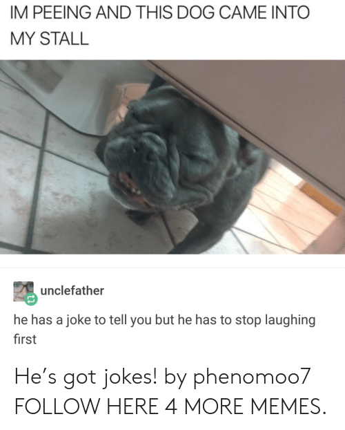 got jokes: IM PEEING AND THIS DOG CAME INTO  MY STALL  unclefather  he has a joke to tell you but he has to stop laughing  first He's got jokes! by phenomoo7 FOLLOW HERE 4 MORE MEMES.