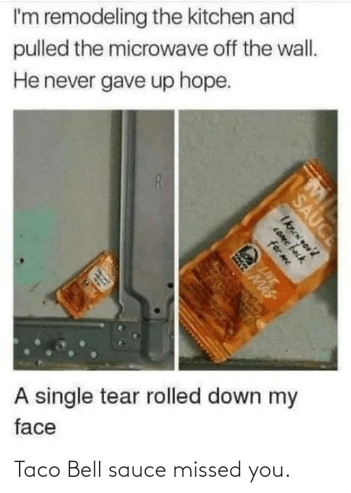 missed: I'm remodeling the kitchen and  pulled the microwave off the wall.  He never gave up hope.  A single tear rolled down my  face  SAUCE  Iknen you'd  COme fack  for me  LIVE  MAS Taco Bell sauce missed you.