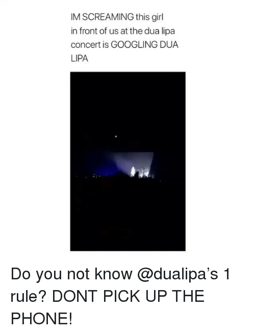 Phone, Girl, and Girl Memes: IM SCREAMING this girl  in front of us at the dua lipa  concert is GOOGLING DUA  LIPA Do you not know @dualipa's 1 rule? DONT PICK UP THE PHONE!