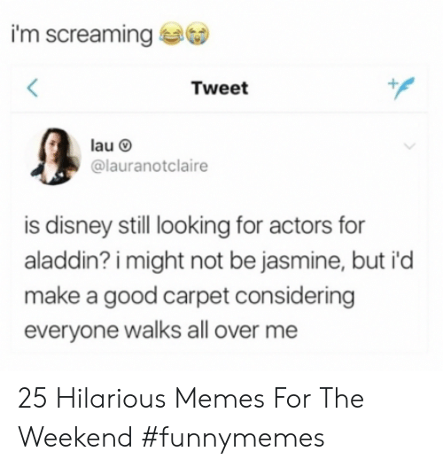 Aladdin: I'm screaming  Tweet  @lauranotclaire  is disney still looking for actors for  aladdin? i might not be jasmine, but i'd  make a good carpet considering  everyone walks all over me 25 Hilarious Memes For The Weekend #funnymemes