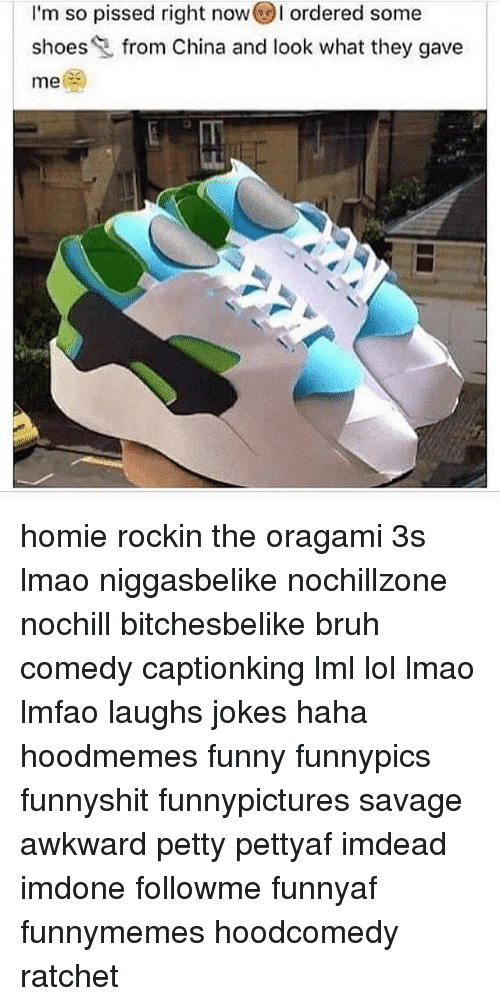 Funny, Homie, and Memes: I'm so pissed right now ordered some  d shoes  from China and look what they gave  me homie rockin the oragami 3s lmao niggasbelike nochillzone nochill bitchesbelike bruh comedy captionking lml lol lmao lmfao laughs jokes haha hoodmemes funny funnypics funnyshit funnypictures savage awkward petty pettyaf imdead imdone followme funnyaf funnymemes hoodcomedy ratchet