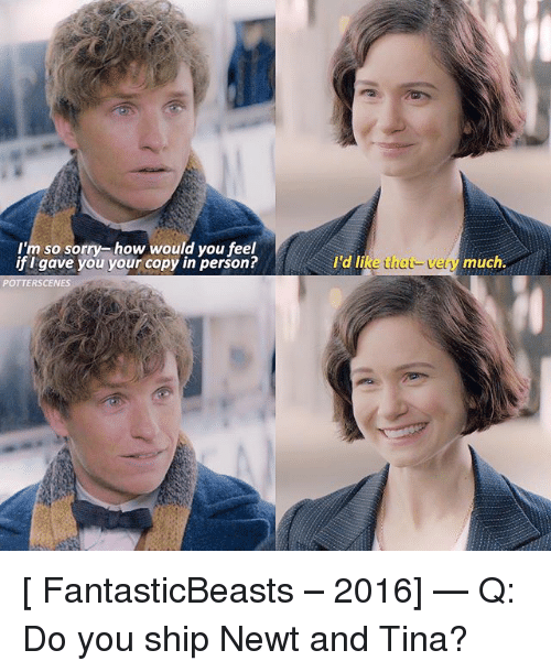Memes, Sorry, and 🤖: I'm so sorry how would you feel  if I gave you your copy in person?  I'd l  ld li  that-very  much.  RS [ FantasticBeasts – 2016] — Q: Do you ship Newt and Tina?