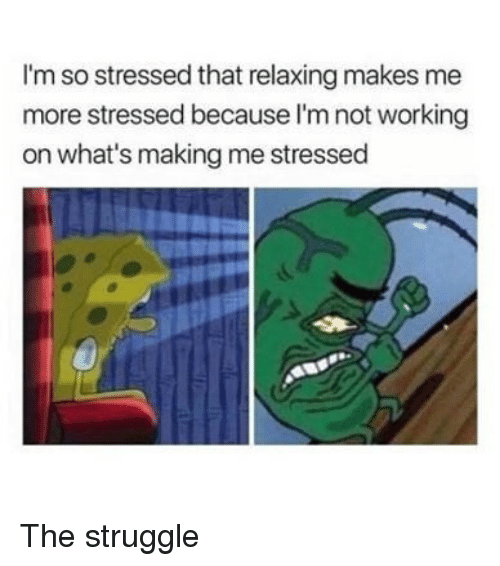 Memes, Struggle, and 🤖: I'm so stressed that relaxing makes me  more stressed because l'm not working  on what's making me stressed The struggle