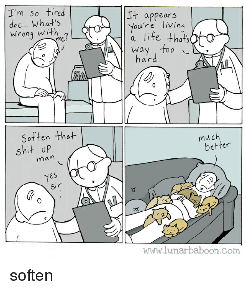 Life, Shit, and Living: I'm so tired  doc.. What's  Wrong with  It appears  You're living  a life thats  Way Too  hard  me  Soften that  much  shit up  man  better  es  Sir  0  2  www.lunarbaboon.com soften