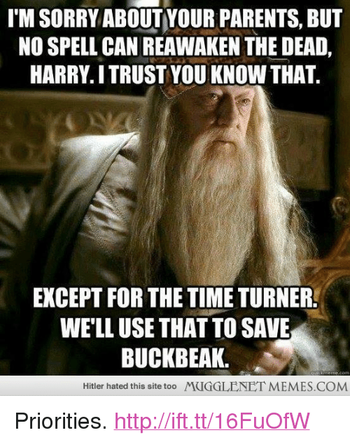 "time turner: I'M SORRY ABOUTYOUR PARENTS, BUT  NO SPELL CAN REAWAKEN THE DEAD,  HARRY. I TRUST YOU KNOW THAT.  EXCEPT FOR THE TIME TURNER  WE'LL USE THAT TO SAVE  BUCKBEAK.  Hitler hated this site too  MUGGLENETMEMES.COM <p>Priorities. <a href=""http://ift.tt/16FuOfW"">http://ift.tt/16FuOfW</a></p>"