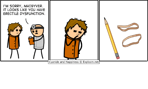 Dank, Sorry, and Happiness: I'M SORRY, MACGYVER  IT LOOKS LIKE YOU HAVE  ERECTILE DYSFUNCTION  Cyan.de and Happiness © Explosm.net