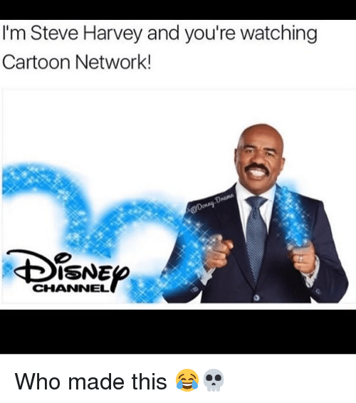 memes: I'm Steve Harvey and you're watching  Cartoon Network!  ISNE  CHANNEL Who made this 😂💀
