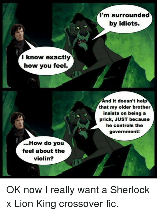 im surrounded by idiots: I'm surrounded  by idiots  I know exactly  how you feel.  nd it doesn't help  that my older brother  insists on being a  prick, JUST because  he controls the  government!  ...How do you  feel about the  violin? <p>OK now I really want a Sherlock x Lion King crossover fic.</p>