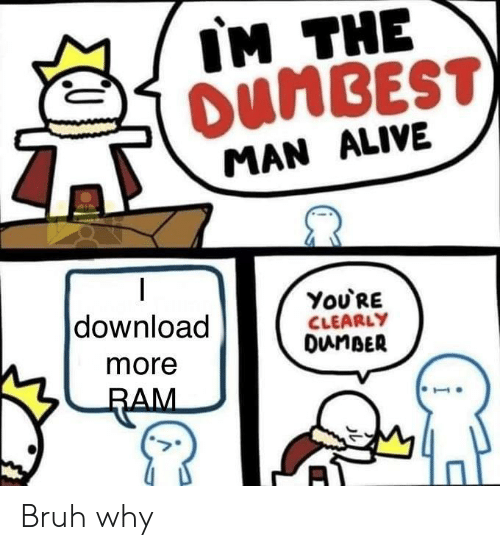 download more ram: IM THE  OUNBEST  MAN ALIVE  You'RE  CLEARLY  DunBER  download  more  RAM Bruh why