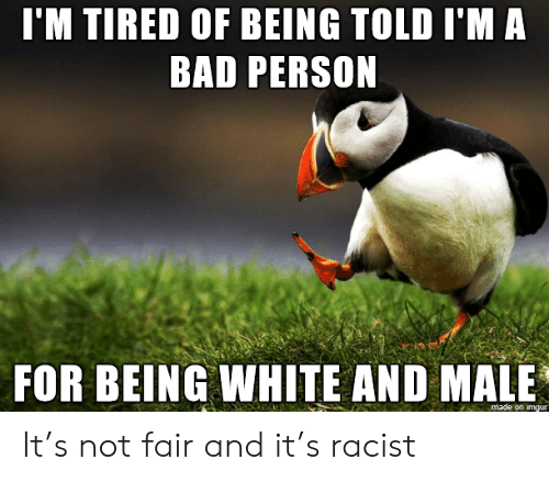 Bad Person: I'M TIRED OF BEING TOLD I'M A  BAD PERSON  FOR BEING WHITE AND MALE  made on imgur It's not fair and it's racist