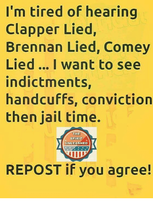 Repost If: I'm tired of hearing  Clapper Lied,  Brennan Lied, Comey  Lied... I want to see  indictments,  handcuffs, conviction  then jail time.  THE  SPIRIT  UNLEASHED  REPOST if you agree!