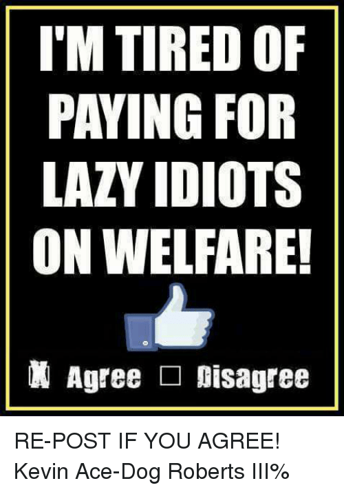 Lazy, Memes, and 🤖: I'M TIRED OF  PAYING FOR  LAZY IDIOTS  ON WELFARE!  Agree □ Disagree RE-POST IF YOU AGREE! Kevin Ace-Dog Roberts III%