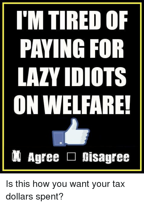 Lazy, Memes, and 🤖: I'M TIRED OF  PAYING FOR  LAZY IDIOTS  ON WELFARE!  Agree □ Disagree Is this how you want your tax dollars spent?