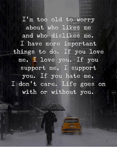 You Hate Me: I'm too old to worry  about who likes me  and who dislikes me.  I have more important  things to do. If you love  me, I love you.If you  support me, I support  you. If you hate me,  I don't care. Life goes on  with or without you.  0
