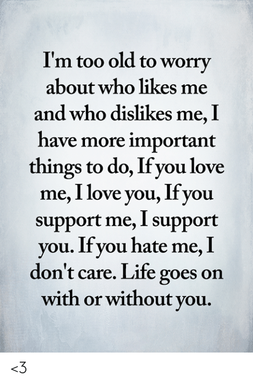 You Hate Me: I'm too old to worry  about who likes me  and who dislikes me, I  have more important  things to do, If you love  me, I love you, Ifyou  support me, I support  you. If you hate me, I  don't care. Life goes on  with or without you. <3