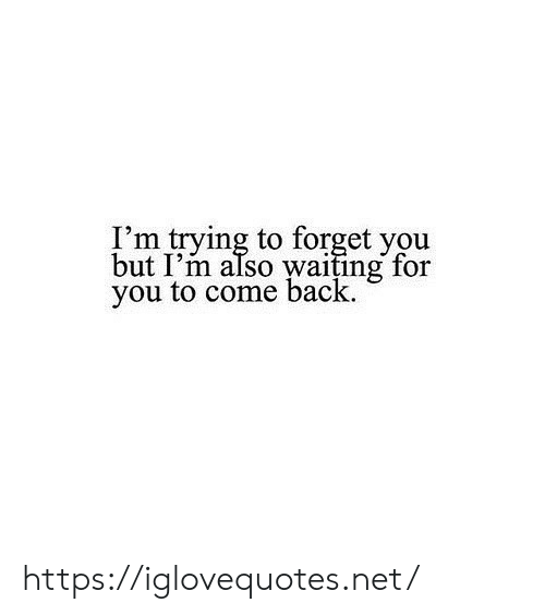 waiting for you: I'm trying to forget you  but I'm also waiting for  you to come back https://iglovequotes.net/