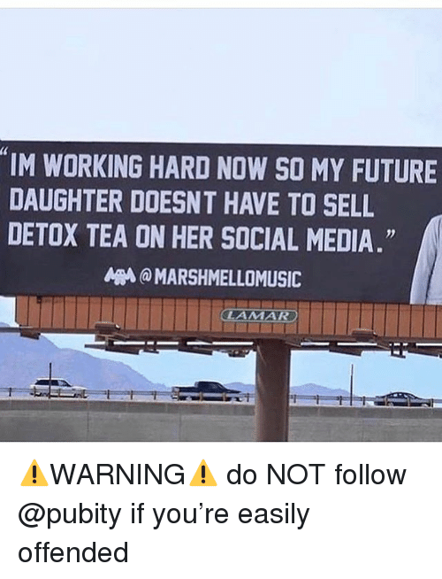 Funny, Future, and Meme: IM WORKING HARD NOW SO MY FUTURE  DAUGHTER DOESNT HAVE TO SELL  DETOX TEA ON HER SOCIAL MEDIA  A @ MARSHMELLOMUSIC ⚠️WARNING⚠️ do NOT follow @pubity if you're easily offended
