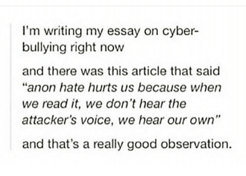 cyber bullying essay papers Free cyber bullying papers, essays, and research papers.