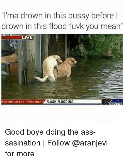 "Ass, Memes, and Pussy: ""I'ma drown in this pussy before l  drown in this flood fuvk you mean""  LIVE  EATHER ALERTWEA  THERFLASH FLOODING Good boye doing the ass-sasination 