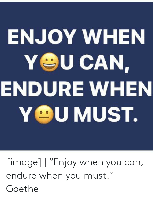 "endure: [image] | ""Enjoy when you can, endure when you must."" -- Goethe"