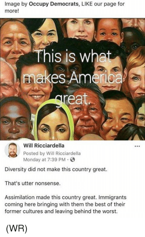 America, Memes, and The Worst: Image by Occupy Democrats, LIKE our page for  more!  This is what  makes America  ea  Wil Ricciardella  Posted by Will Ricciardella  Monday at 7:39 PM  Diversity did not make this country great.  That's utter nonsense.  Assimilation made this country great. Immigrants  coming here bringing with them the best of their  former cultures and leaving behind the worst. (WR)
