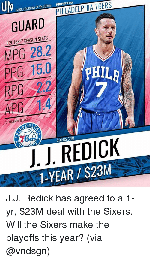 Memes, Nba, and Image: IMAGE COURTESY OF VN DESIGN foVNDSGN  GUARD  32016/17 SEASON STATS  MPG 28.2  PPG 15.0  RPG 2  APG14  PHIL  7  STATS FROM NBA.COM  A DE  DEL  76e  SIXERS.COM  J.J. REDICK  1-YEAR/S23M J.J. Redick has agreed to a 1-yr, $23M deal with the Sixers. Will the Sixers make the playoffs this year? (via @vndsgn)