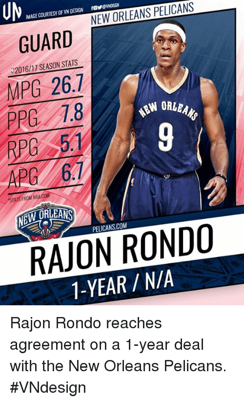 Memes, Nba, and New Orleans Pelicans: IMAGE COURTESY OF VN DESIGN  foyeVNDSGN  GUARD  MPG 26.7  PPG 1.8  S2016/11 SEASON STATS  ORLEAN  9  APC 67  STATS FROM NBA.COM  NEW DREANS  PELICANS.COM  RAJON RONDO  1-YEAR /NIA Rajon Rondo reaches agreement on a 1-year deal with the New Orleans Pelicans.  #VNdesign