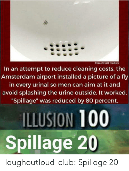 """urine: Image Credit: medium  In an attempt to reduce cleaning costs, the  Amsterdam airport installed a picture of a fly  in every urinal so men can aim at it and  avoid splashing the urine outside. It worked.  """"Spillage"""" was reduced by 80 percent.  ILLUSION 100  Spillage 20 laughoutloud-club:  Spillage 20"""