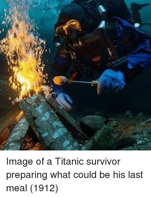Last Meal: Image of a Titanic survivor preparing what could be his last meal (1912)