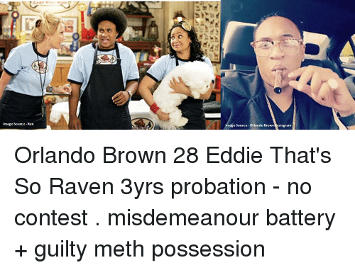 Memes, Orlando Brown, and That's So Raven: Image Source-Rex  Amage Source-Orlando Brown nstagram Orlando Brown 28 Eddie That's So Raven 3yrs probation - no contest . misdemeanour battery + guilty meth possession