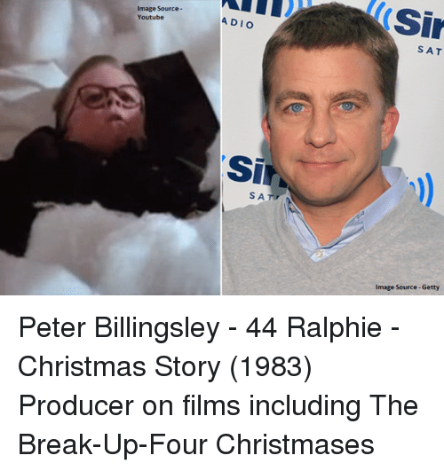 Ralphie: Image Source  Youtube  ADIO  SA  Sir  SAT  Image Source-Getty Peter Billingsley - 44 Ralphie - Christmas Story (1983) Producer on films including The Break-Up-Four Christmases