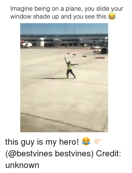 Memes, Shade, and My Hero: Imagine being on a plane, you slide your  window shade up and you see this this guy is my hero! 😂 👉🏻(@bestvines bestvines) Credit: unknown