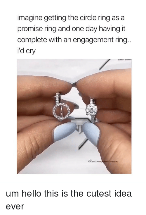 A Promise Ring: imagine getting the circle ring as a  promise ring and one day having it  complete with an engagement ring  i'd cry  rationatneloreations um hello this is the cutest idea ever