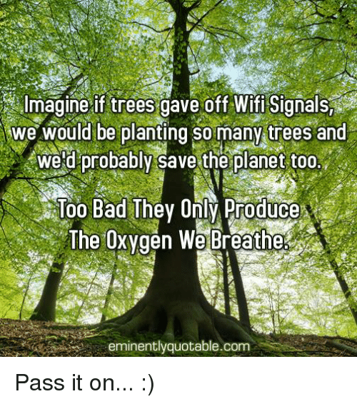 memes: Imagine if trees gave off Signals,  we would be planting so many trees and  Weld probably save the planet too  Too Bad They Only Produce  The Oxygen We Breathe  eminently quotable.com Pass it on... :)
